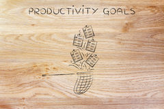 Net handling a group of falling to do lists, productivity goals Royalty Free Stock Photo