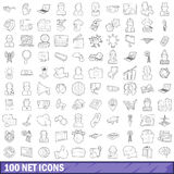 100 net icons set, outline style. 100 net icons set in outline style for any design vector illustration stock illustration
