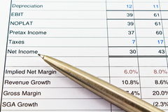 Net Income on Financial statement with pen Stock Photo