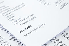 Net income statement reports. Net income word in business income statement with other detail lists in reports, accounting concept, black and white tone image Royalty Free Stock Images