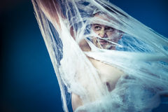 Net, naked man trapped in a huge spider web Stock Images