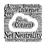 Net Neutrality - Illustration. Net Neutrality - Word cloud illustration with text place inside cloud shaped canvas Royalty Free Stock Photography