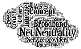 Net Neutrality - Illustration. Net Neutrality - Word cloud illustration with text place inside cloud shaped canvas Stock Photos