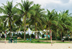 Net for playing volleyball at the China Beach in Danang Stock Image