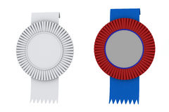 Net premium sign rosette ribbons white blue red isolated Royalty Free Stock Image