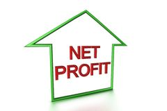 Net Profit. Insie outline shape of a house which lookes like an arrow on white background Stock Photos