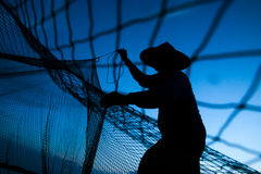 Net. The scattering of fishing during sunset Stock Images