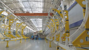 Net shop for assembly of aircraft fuselage, frame roof of plant. Currently, one of main elements of manufacturing process manufacture of aviation technology stock video