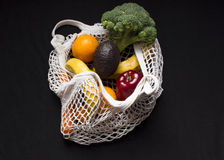 Net Shopping Bag. With Banana, Orange, Broccoli, Apple, Avocado Royalty Free Stock Image