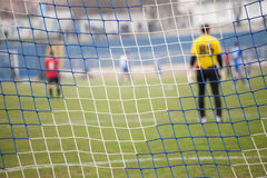 Net, soccer goal during a football mach Stock Photo