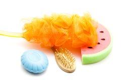 Net sponge with Bath Sponge and Massage brush Royalty Free Stock Photography