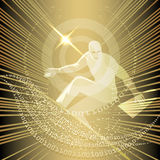Net surfer. Illustration with man who surfs the net against circuit board and flying numbers stock illustration