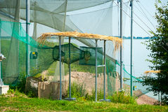 Net to capture birds for ornithological research. View on equipment for ornithological research outdoor Royalty Free Stock Images