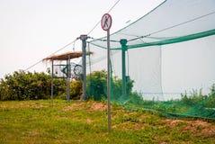Net to capture birds for ornithological research. View on equipment for ornithological research outdoor Royalty Free Stock Photo