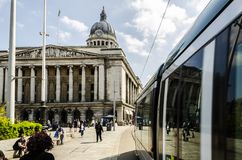 NET Tram and the Council House in Nottingham royalty free stock photo