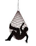 Net trap. Editable vector illustration of a man caught in a net trap stock illustration