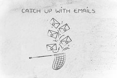 Net trying to catch a group of envelopes, catch up with emails Royalty Free Stock Photography