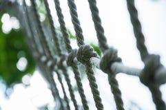 Net van dik koord Gespannen kabel voor de kruising stock foto