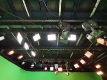 Net van lichten in een televisiestudio royalty-vrije stock afbeelding