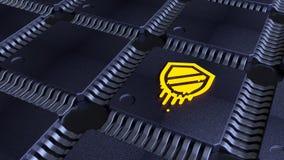 Net van spaanders met een geel afsmeltingssymbool op één van cpu Stock Foto's