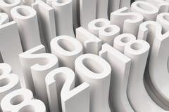Net van witte Nieuwe 2018 Jaar cijfers Stock Foto