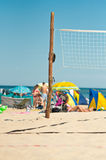 Net for the volleyball. On the beach royalty free stock photos