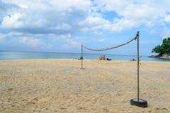 Net volleyball on sandy beach. With blue sky , Laem Singh Beach,Phuket Thailand stock photos