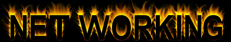 Net working. Word in fire background Royalty Free Stock Images