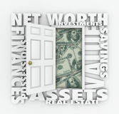 Net Worth Financial Value Total Wealth Assets Debts Open Door Words. Net Worth and related words like assets, finances, possessions, real estate, investments stock illustration
