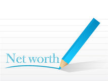 Net worth pencil written sign illustration Stock Photos