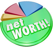 Net Worth Pie Chart Wealth Value Compare Assets Debts Graph. Net Worth words on a pie chart comparing the total value of your assets versus your debt to royalty free illustration