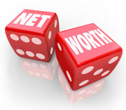 Net Worth Two Dice Total Financial Wealth Value Accounting Risk Stock Photography