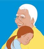 A neta abraça o avô Fotos de Stock Royalty Free