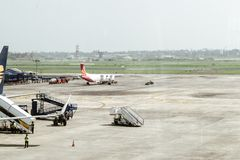 Netaji Subhas Chandra Bose International Airport Dum Dum flygplats, Kolkata Indien 25 December 2018 - inom sikt av Netaji Subhas royaltyfri foto