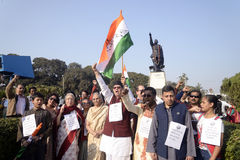 Netajis Family and follower in front ofNetaji Statue. Stock Photo
