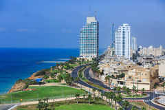 Netania promenade. The view from the skyscraper. Israel royalty free stock photo