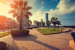 Netanya city, Israel. Panoramic view of Netanya city, Israel. Quay in Netanya royalty free stock image