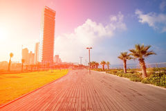 Netanya city at sunrise Stock Images