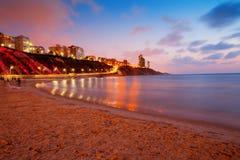 Netanya city at sunset stock image