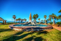 14/12/2018 Netanya, Israel, an extremely impressive fountain on the central promenade of the resort town. On a sunny day royalty free stock photo