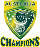Netball Ball Hoop champions Australia shield Royalty Free Stock Image