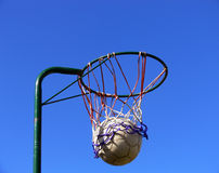 Netball basket and ball. Shooting netball goals Royalty Free Stock Photography
