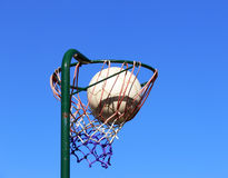 Netball basket and ball Royalty Free Stock Photos