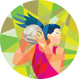Netball Player Ball Rebound Low Polygon Stock Images