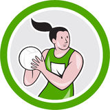 Netball Player Catching Ball Circle Cartoon Stock Photos