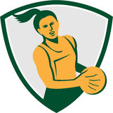 Netball Player Holding Ball Retro Royalty Free Stock Photography