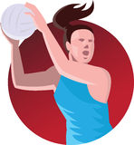 Netball Player Passing Ball Retro Stock Image