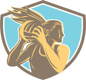 Netball Player Rebound Ball Shield Retro Royalty Free Stock Photography