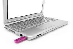 Netbook με το λευκό όργανο ελέγχου και usb Στοκ Εικόνες