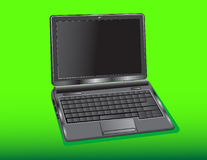 Netbook. Switched off Netbook on a green background for various application Stock Image